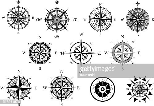 Nautical Wind Rose And Compass Icons Set Vector Art