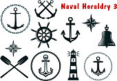 Set of naval heraldry icons with assorted marine anchors crossed oars ship wheel compass lighthouse and bell