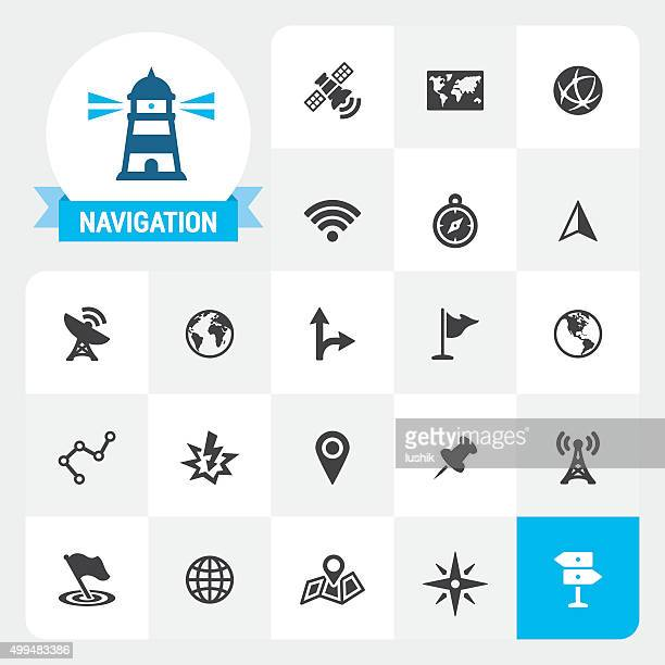 Navigation base vector icons and label