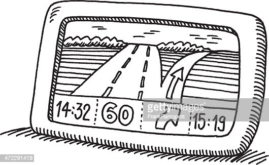 Car Driving On The Road View From Above Drawing Vector Art | Getty ...