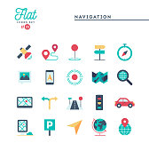 Navigation, direction, maps, traffic and more, flat icons set, vector illustration