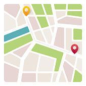 Navigation map with pin pointer. Vector illustration of location direction. City map with navigation, Finding the way concept - Vector illustration
