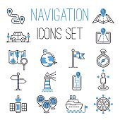 Navigation outline black location pin pictogram direction and search design earth web blue icons global pointer set map thin sign vector illustration. Website interface message distance symbol.