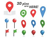 Navigation pins 3d isometric collection. Realistic pins and positioning flags isolated on white background