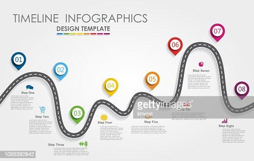 Concepto de línea de tiempo de infografía navegación hoja de ruta con lugar para que sus datos. Ilustración de vector. : arte vectorial