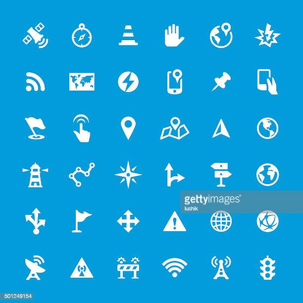 Navigational Equipment vector icons set