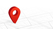 GPS navigator pin checking red color on city street map white background. Vector illustration.