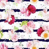 Navy striped print with bouquets of rose, peony, hydrangea, camellia, carnation and eucalyptus leaves. Seamless vector pattern with speckled backdrop.  All elements are isolated and editable.