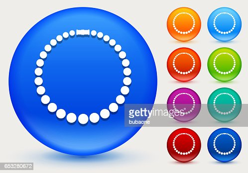 Necklace Icon on Shiny Color Circle Buttons : Vector Art