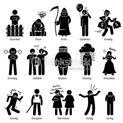 negative personalities character traits stick figures man icons