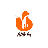 Negative Space Symbol with Sitting Fox. Orange Fox Silhouette.  Fox Icon Isolated on White Background. Cute Animal Illustration.