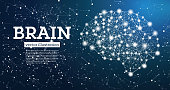 Neon Brain Connections on Blue Background. Vector Illustration.
