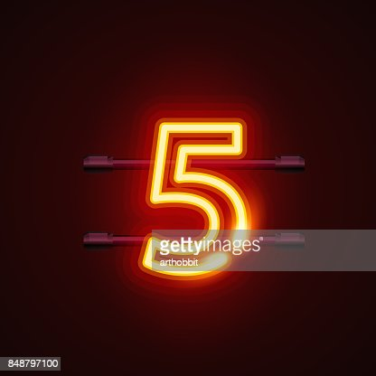Neon city font sign number 5, signboard five. : stock vector