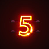 Neon city font sign number 5, signboard five. Vector illustration