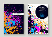 Neon explosion paint splatter artistic cover frame design. Decorative dust splash spray texture blue background. Trendy creative template vector Cover Report Catalog Brochure Flyer Poster Banner