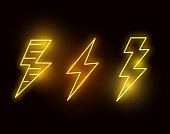 A set of hot neon glowing lightning bolts. vector illustration