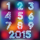 Neon glowing set of numbers on color backgrounds. Vector graphics ideal for decoration on any background. New Year's holidays and the other for your design!