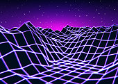 Neon grid landscape with old game style for New Retro Wave party or cover