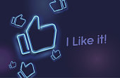 Neon icons like social network. Hand, big finger up on blue background. I like it!