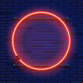 Neon lamp circle frame on brick wall background. Las Vegas concept. Vector illustration.