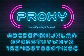 Neon light alphabet, futuristic extra glowing font. Exclusive swatch color control.