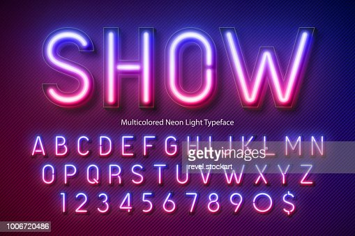 Neon light alphabet, multicolored extra glowing font : stock vector