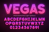 Neon light alphabet, multicolored extra glowing font. Exclusive swatch color control.