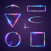 Neon light frames in vector