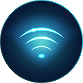 Neon modern wifi sign, rounded icon. Glowing vector art. Web Button