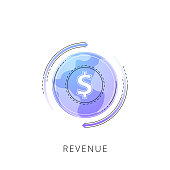 Neon revenue vector line icon isolated on white background. Revenue line icon for infographic, website or app.