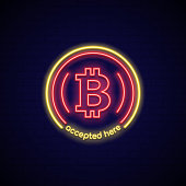 Neon sign here accept Bitcoin. Concept neon signboard bitcoin payment and exchange. Digital currency. Cryptocurrency symbol on dark background. Vector illustration.