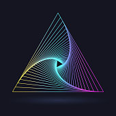 Neon triangle with a spiral, logo on a black background