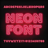 Neon tube alphabet font. Red color bold type letters and numbers. Vector typeface for headlines, posters, etc.