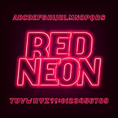 Neon tube alphabet font. Red color oblique letters and numbers. Stock vector typeface for your headers or any typography design.