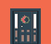 Vector illustration of the decoration of the entrance door of the Christmas wreath of the nest