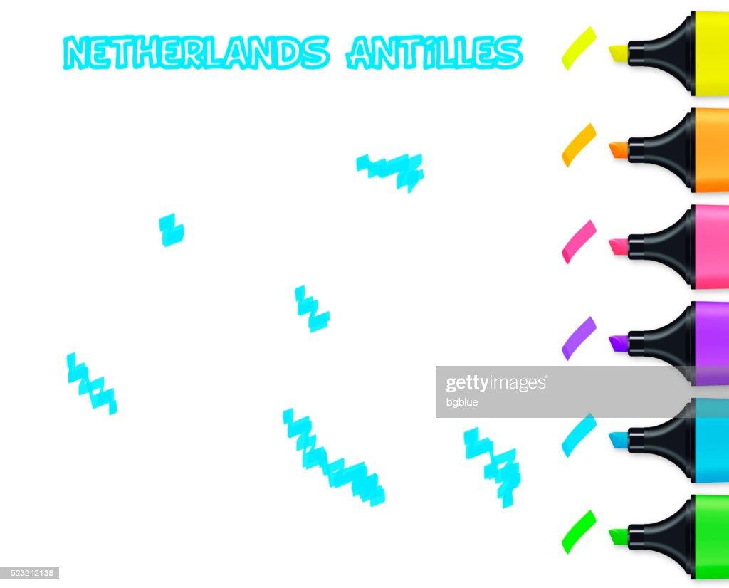 Netherlands Antilles Map Sketch On Grid Paper Blue Pen Vector Art