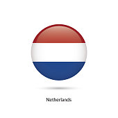 Netherlands flag - round glossy button. Vector Illustration.