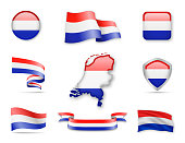 Netherlands Flags Collection. Vector illustration different forms