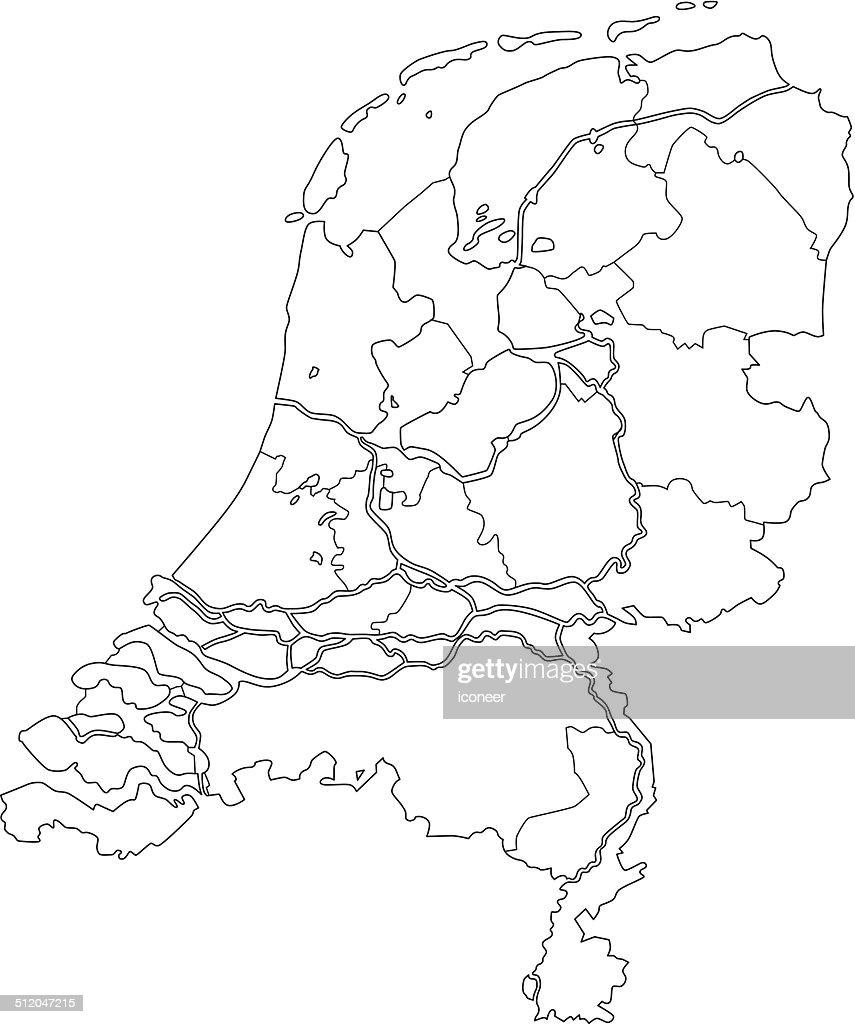 Unity Line Art Map : Netherlands map outline white background vector art
