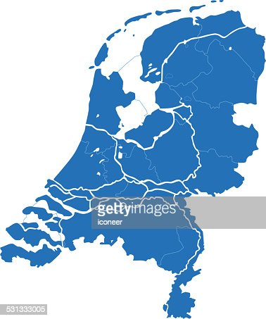 netherlands simple blue map on white background vector art