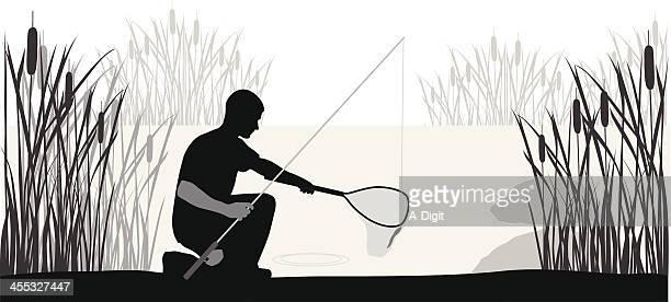 Net'n Fishing Vector Silhouette