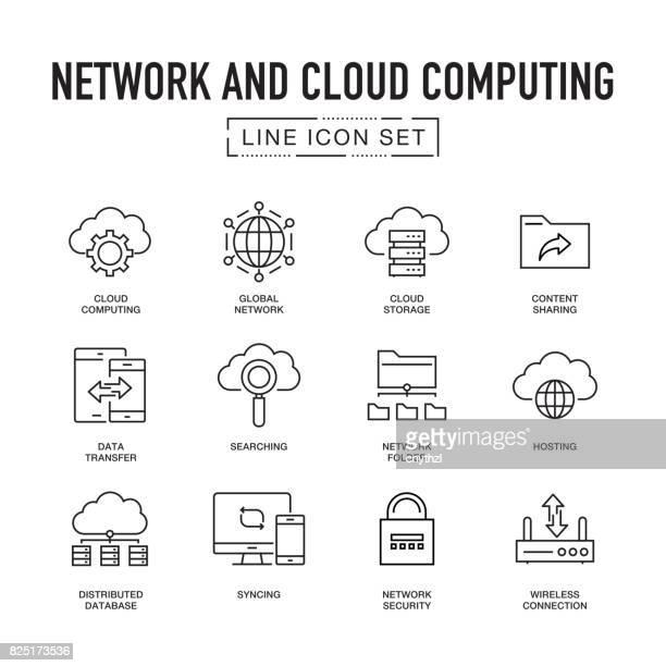 Netzwerk- und Cloud-Computing-Linie Icon Set
