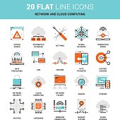 Vector set of network and data technology, cloud computing, flat line web icons. Illustration graphic design concepts. Modern flat line icon style. Symbols for mobile and web graphics. Logo concepts