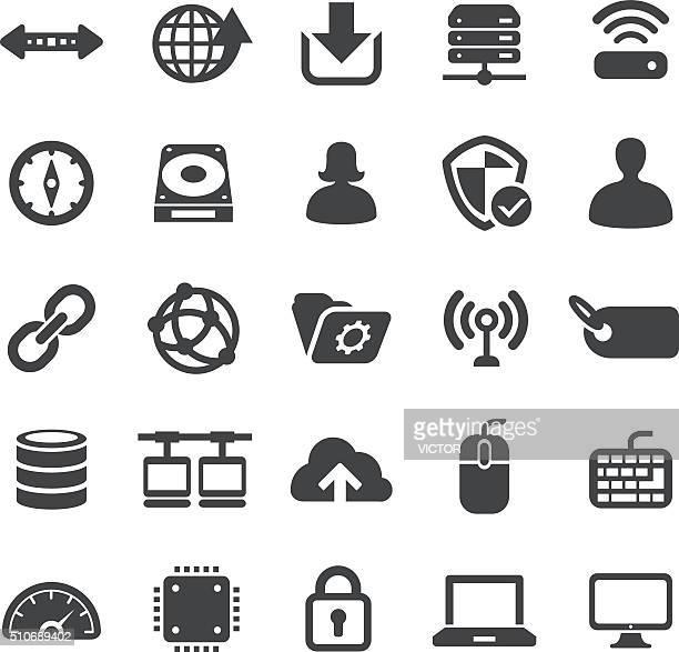 Ordinateurs en réseau et icônes Set-Série élégante