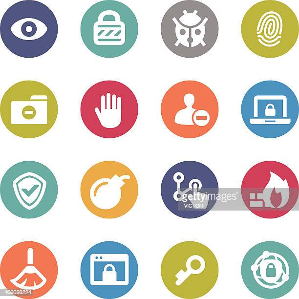 Network and Security Icons - Circle Series