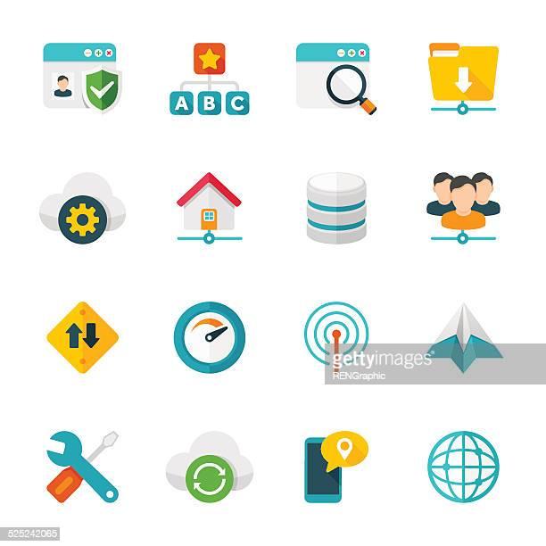 Ensemble/Communication réseau & icônes plat Design