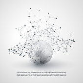 Abstract Cloud Computing and Network Connections Concept Design with Earth Globe and Transparent Geometric Mesh - Illustration in Editable Vector Format