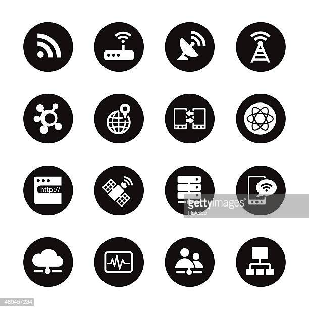 Network Icons - Black Circle Series