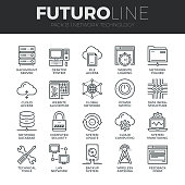 Modern thin line icons set of  cloud computing network, internet data technology. Premium quality outline symbol collection. Simple mono linear pictogram pack. Stroke vector symbol concept for web gra