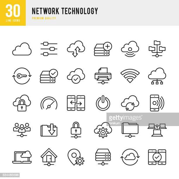Netzwerk-Technologie – dünne Linie Symbol-Set